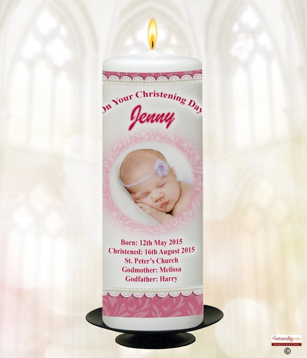 Teddy Pram & Lace Photo Pink Christening Candle