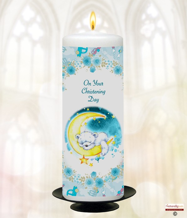 Bear Sleeping On Moon Blue Christening Candle