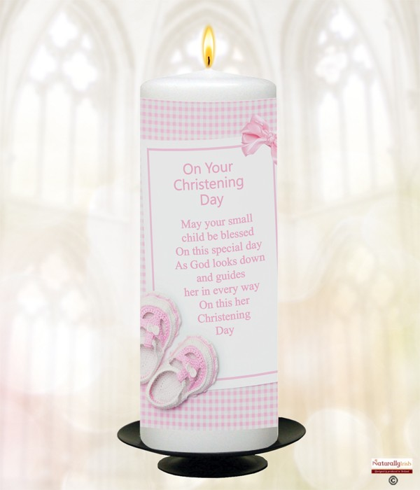 Gingham Bow & Shoes Pink Christening Candle