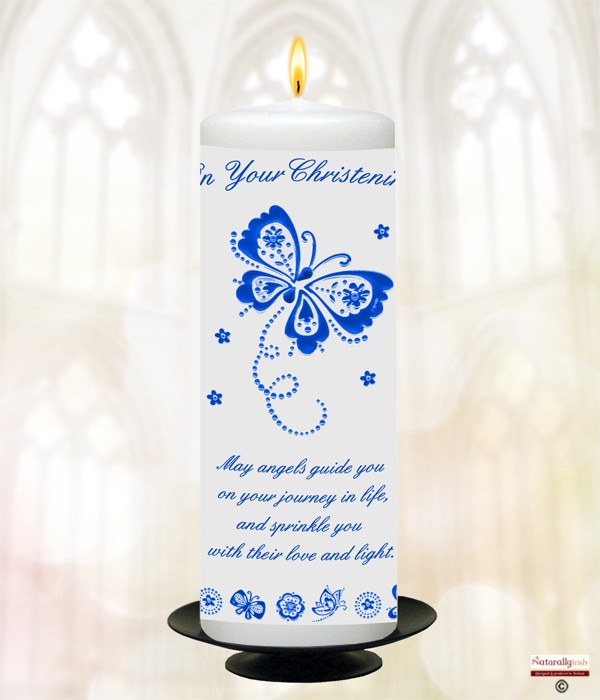 Butterfly & Flowers Blue Christening Candle