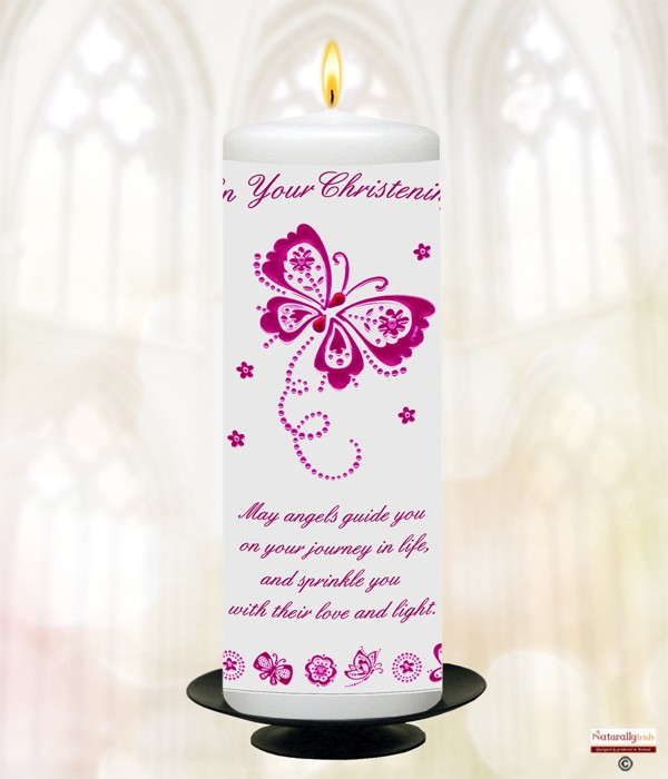Butterfly & Flowers Pink Christening Candle