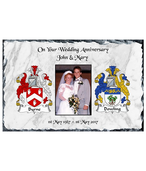 Anniversary Family Crest & Photo Slate white Background