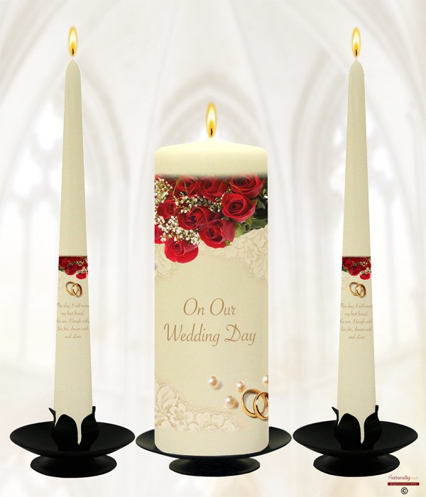 Pearl, Rings & Red Roses Gold Wedding Candles