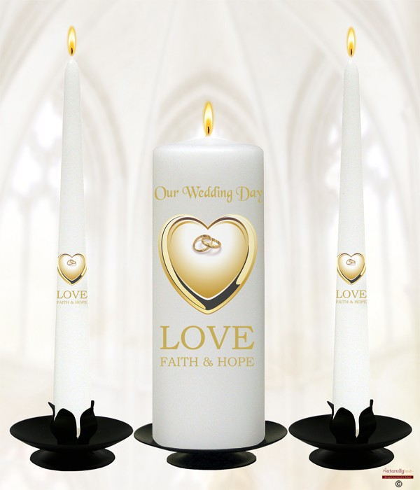 Heart & Rings Gold Wedding Candles