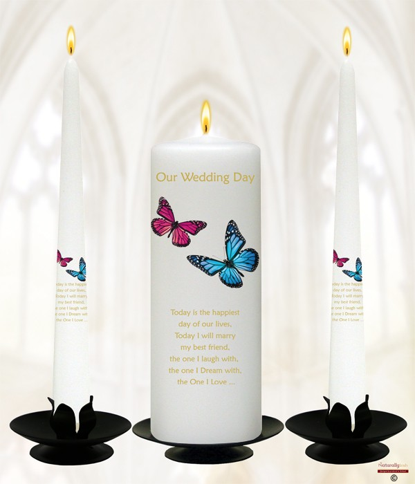 Butterflies Pink & Blue Gold Wedding Candles