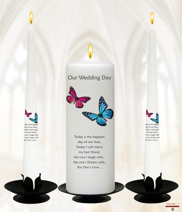 Butterflies Pink & Blue Silver Wedding Candles