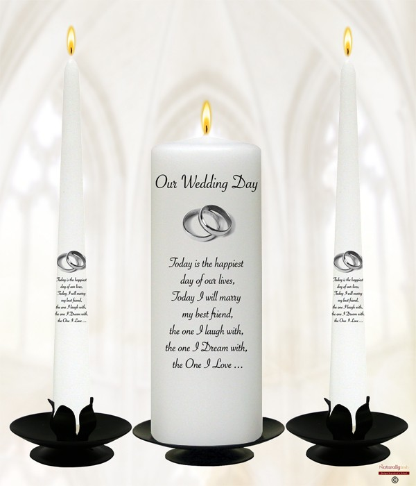 Elegant Silver Rings Wedding Candles