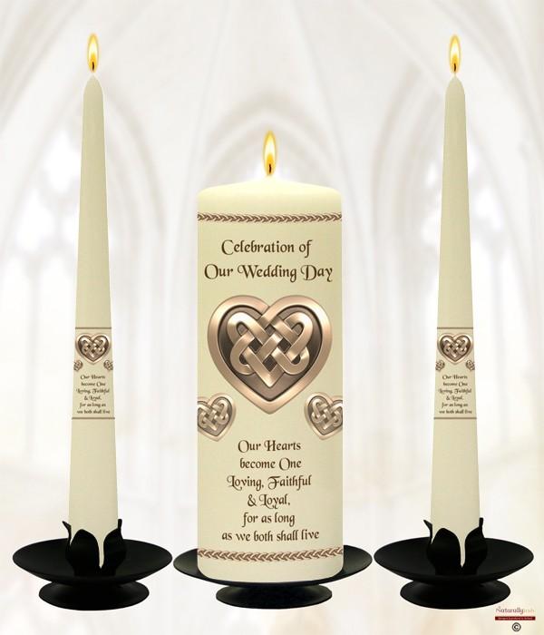 Celtic Heart Wedding Candles Ivory 187 Naturally Irish