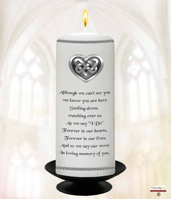 Celtic Heart Silver Wedding Remembrance Candle (White) 6inch