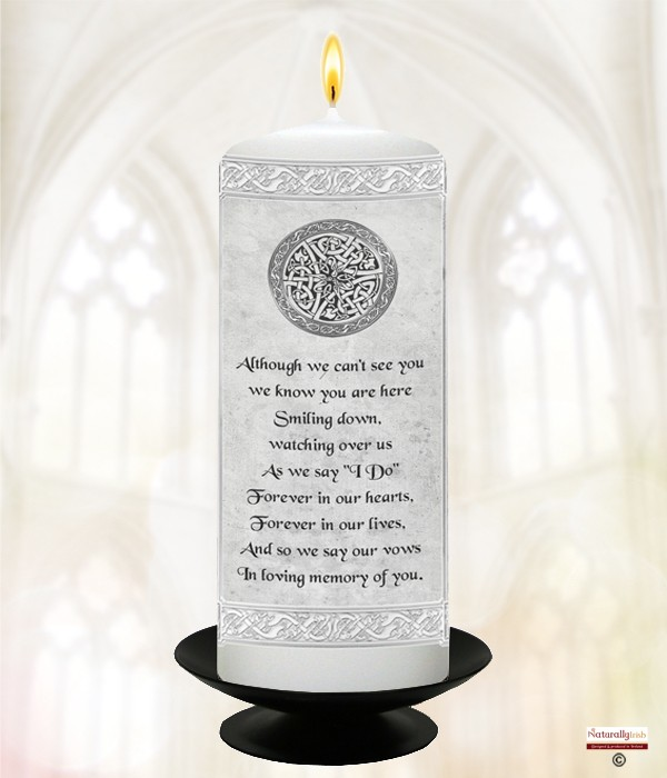 Celtic Silver Wedding Remembrance Candle (White) 6inch