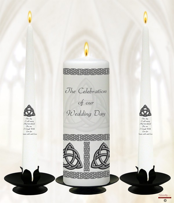 Trinity Knot Silver Wedding Candles