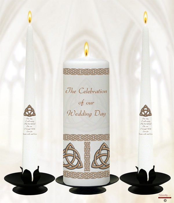 Trinity Knot Gold Wedding Candles