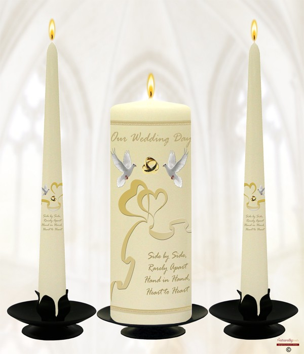 Two Hearts & Dove Wedding Candles