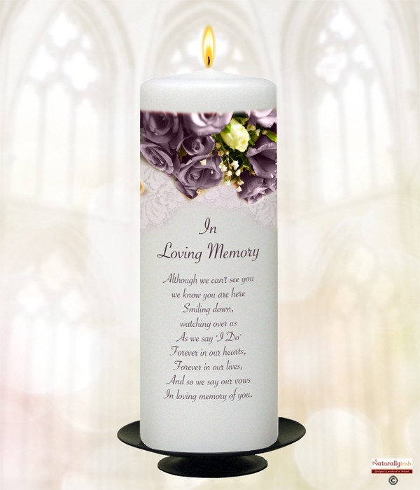 Aubergine Rose Silver Wedding Remembrance Candle