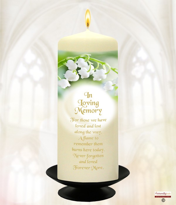 Lily of the Valley Wedding Gold Script 6inch Remembrance Candle (Ivory)